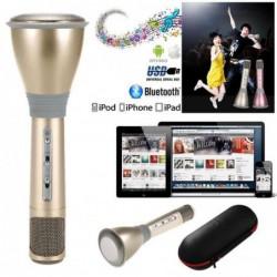 Karaoké Micro Haut-parleur Sans Fil Bluetooth Doré