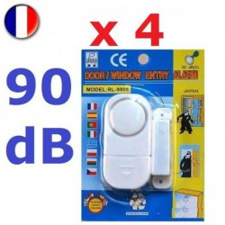 4 Alarmes De Sécurité Pour Porte Et Fenêtre - 90 Db - Piles Incluses - Antivol