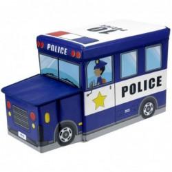 Pouf Tabouret Coffre De Rangement Enfant Forme Voiture De Police Bleu