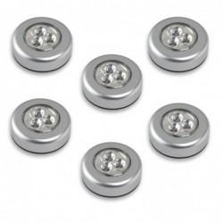 6pcs 3-led Lampe Tactile Lampe à Cliquer Alimenté Par Batterie(lumière Blanche)