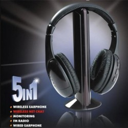 Black 5 In 1 Wireless Cordless Headphone Headset Earphone