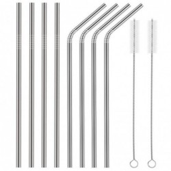 Lot De 8 Pailles Inox Long 10