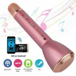 Microphone Sans Fil Karaoke Avec Haut-parleur Bluetooth - Rose Portable Blutooth 4.1 Haut-parleurs Portables K...