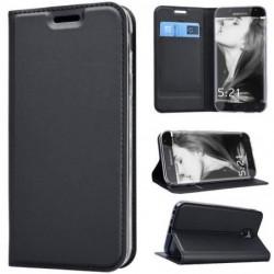 Coque Portefeuille En Cuir Pour Samsung Galaxy A6 2018 Noir Solide