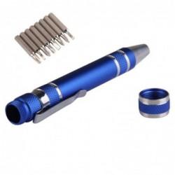 Portable Precise Mini 8 En 1 Oblongs Bits De Réparation Tournevis Pen Set Bleu